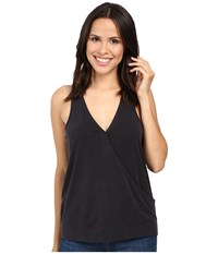 Splendid Sandwash Jersey Crossfront Racerback Tank Top Black Women's Sleeveless