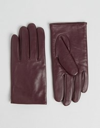 Asos Leather Plain Gloves Burgundy Red