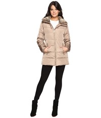 Michael Michael Kors Zip Front Faux Fur Collar Down M821319t Truffle Women's Coat Brown