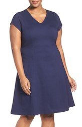 Sejour Plus Size Women's Stretch Knit A Line Dress Navy Peacoat