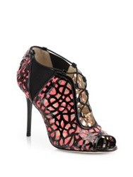 Jimmy Choo Tactic Laser Cut Patent Leather Peep Toe Booties Black Multi