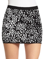 Haute Hippie Sequined Silk Cheetah Mini Skirt Black White