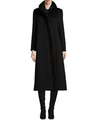 Fleurette Long Wool Coat W Mink Fur Black
