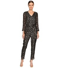 Kate Spade Metallic Clipped Dot Jumpsuit Black Gold Women's Jumpsuit And Rompers One Piece
