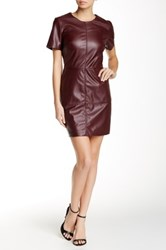1.State Faux Leather Front Shift Dress Red