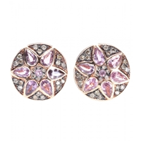 Ileana Makri Deco Flower 18Kt Rose Gold Stud Earrings With Pink Sapphires And Brown Diamonds Pink Gold Saphire