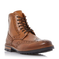 Bertie Cyrus Leather Lace Up Brogue Boots Tan