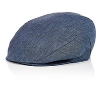 Barneys New York Men's Herringbone Newsboy Cap Blue
