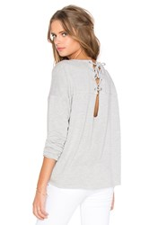 Feel The Piece Flight Lace Up Back Sweater Gray