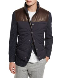 Brunello Cucinelli Quilted Nylon And Leather Vest Navy Ink