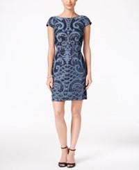 Adrianna Papell Sequined Scoop Back Dress Blue