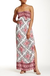 Pink Owl Printed Slit Maxi Dress Pink