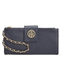 Tommy Hilfiger Leather Chain Wristlet Wallet Tommy Navy