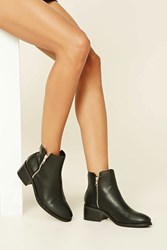 Forever 21 Faux Leather Booties Black