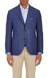 Barneys New York Men's Chevron Two Button Sportcoat Blue