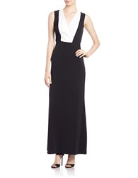 Calvin Klein Sequined Colorblocked Gown Black Eggshell