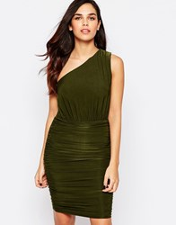Ax Paris One Shoulder Dress In Slinky Khaki Green