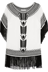 Alice Olivia Natalie Fringed Embroidered Silk Georgette Top White
