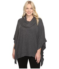 Nydj Plus Size Cozy Jersey Poncho Charcoal Women's Coat Gray
