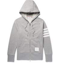 Thom Browne Striped Loopback Cotton Jersey Hoodie Light Gray