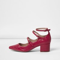River Island Womens Red Croc Strappy Mary Jane Shoes
