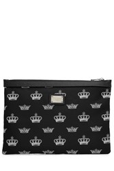 Dolce And Gabbana Zipped Fabric Document Pouch Black