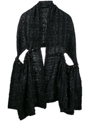 Simone Rocha Lurex Tweed Scarf Black