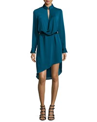 Halston Long Sleeve Belted Draped Dress Atlantic