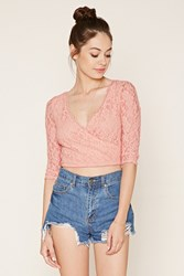 Forever 21 Lace Surplice Crop Top