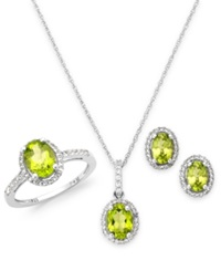 Macy's Peridot And White Topaz Jewelry Set In Sterling Silver 5 1 2 Ct. T.W.