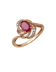 Lord And Taylor Diamond Ruby 14K Rose Gold Ring Ruby Rose Gold