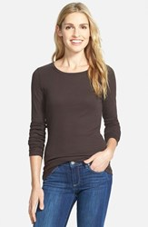 Women's Caslon Long Sleeve Crewneck Cotton Tee Brown Bean