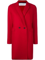 Harris Wharf London Double Breasted Mid Coat Red