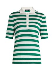 Dolce And Gabbana Short Sleeved Cashmere Silk Blend Polo Top Green Multi