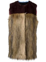 Msgm Fur Gilet Brown
