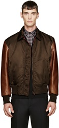 Givenchy Green And Brown Leather Sleeve Bomber