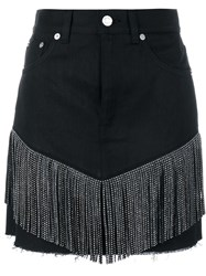 Saint Laurent Fringed Black Mini Skirt