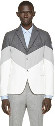 Moncler Gamme Bleu Grey And White Down Runway Blazer
