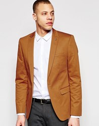 Asos Superskinny Fit Blazer In Cotton Mustard Yellow