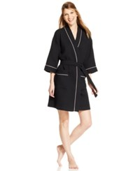 Charter Club Short Woven Waffle Robe Classic Black