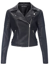 Miss Selfridge Faux Leather Biker Jacket Black