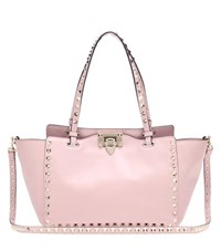 Valentino Rockstud Small Leather Tote Pink
