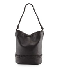 Cole Haan Shelly Whipstitched Leather Bucket Hobo Bag Black