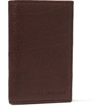 Brunello Cucinelli Full Grain Leather Billfold Wallet Brown