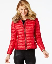 Inc International Concepts Faux Fur Collar Puffer Bomber Jacket Only At Macy's Glamorous Red
