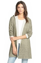 Junior Women's Sun And Shadow Hooded Fleece Cardigan Olive Burnt