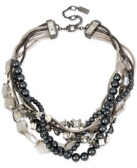 Kenneth Cole New York Hematite Tone Metallic Cluster And Bead Torsade Necklace Multi