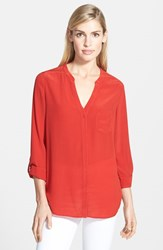 Trouve Women's Trouve Silk Blouse Red Samba