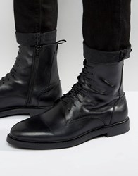 Zign Leather Lace Up Boots Black