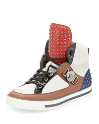 Leather Studded High Top Sneaker Brown White Versace